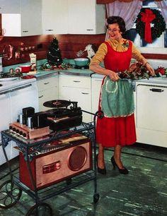 Nel 1954 la lieta casalinga aveva anche l'Hi Fi su rotelle per fare le pulizie in letizia!!!!!