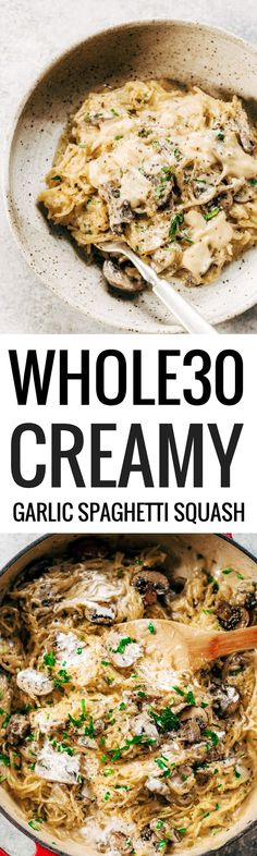 Easy creamy garlic spaghetti squash noodles with cauliflower cream sauce. An easy paleo, gluten free, and recipe for the whole family! How to cook spaghetti squash. Healthy spaghetti squash…More Whole30 Dinner Recipes, Paleo Dinner, Paleo Recipes, Paleo Meals, Cooking Recipes, Healthy Meals, Healthy Food, Easy Meals, Easy Whole 30 Recipes