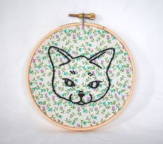 Cat Embroidery Hoop. Hand Made Embroidered Wall by cinderandhoney