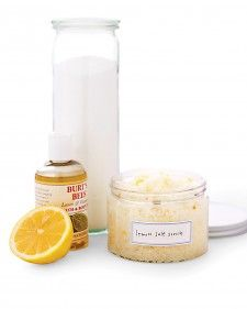 Homeade body scrub. It's easy, all-natural, and so inexpensive, you'll want to make enough for gifts. Combine 1 cup of body oil with 2 cups of Epsom or sea salts or organic cane sugar (depending on how fine a grain you like). We added lemon zest for color and fragrance. Package in jars (plastic is safest near the tub).