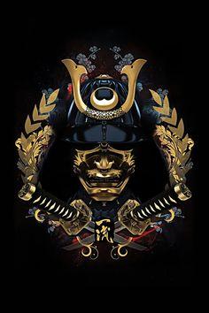 Black And Gold Ancient Samurai Mask Japanese Mask, Japanese Warrior, Samurai Helmet, Samurai Warrior, Samourai Tattoo, Samurai Wallpaper, Samurai Artwork, Pop Art Wallpaper, Powerful Art