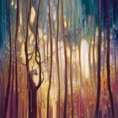 Gill Bustamante's psychedelicoil paintings depict animals set withinvibrant woodlands.
