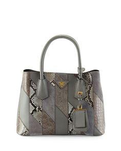 Small Python/Leather/Crocodile Tote Bag, Gray (Marmo) by Prada at Neiman Marcus.