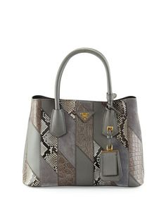 Small Python/Leather/Crocodile Tote Bag, Gray (Marmo) by Prada at Neiman Marcus.