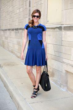 What I Wore: True Blue, Jessica Quirk, DvF, Diane Von Furstenberg Renee Dress, whatiwore.tumblr.com, flare skirt,