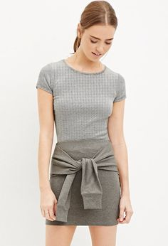 Heathered Tie-Front Skirt