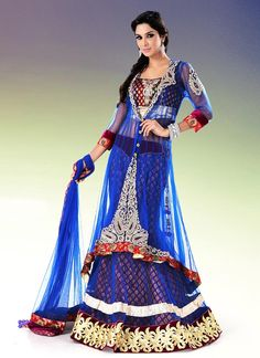 Beautiful Appliqued Long Choli Lehenga