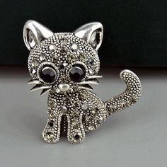 Crystal Rhinestone Lovely Cat Female Retro Brooches Brooch Pin Good