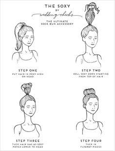 Sock bun instruction illustrated tutorial.