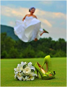 way to get a bride jumping shot, shoes, and bouquet... efficient