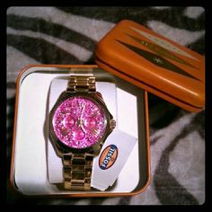 Womens Fossil Pink Bling Face Watch Brand new  Gorgeous gold band blinging watch with pink face. Makes a great gift! Fossil Accessories Watches