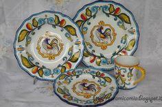 Servizio di #piatti da tavola con il #gallo . #Ceramica #dipinto a mano #handmade #Italy http://ceramicamia.blogspot.it/2016/01/piatti-da-tavola-con-il-gallo.html