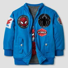 Marvel Toddler Boys' Bomber Jacket and Long Sleeve Tee Set - Blue 4T, Toddler Boy's