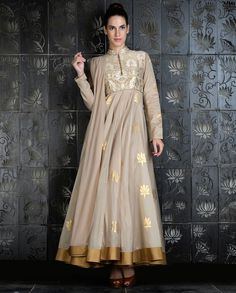 Anarkalis, Rohitbal,Light Beige Kalidar Set with Signature Lotus Prints Indian Gowns, Indian Attire, Indian Wear, Indian Outfits, Indian Style, Pakistani Dress Design, Pakistani Dresses, Cotton Dresses Online, Long Tunic Dress