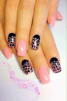 Pink and place Cheetah nails
