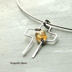 handmade cross necklace with citrine http://dragonflysjewelry.blogspot.cz/