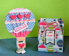 Echo Park We are Family Hot Air Balloon Card and Gift Box by Lorrie Nunemaker (using papers and SVG cutting files designed by Lori Whitlock).
