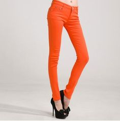 cf78975e837 New Autumn Fashion Pencil Jeans Woman Candy Colored Mid Waist Full Length  Zipper Slim Fit Skinny Women Pants
