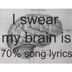 I swear my brain is 50% song lyrics w/lots of la la la's instead of the correct words. Still, my brain works best musically.