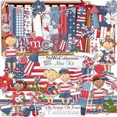 #digitalscrapbooking Independence Day and #cardmaking July 4rth kit. When you really want to show your patriotism! Nitty Bitty - Oh Seven Oh Four Mini Kit