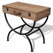 Szafka antyczna stolik szuflada brąz drewno