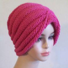 Knit Turban Hat Cotton Women Pink