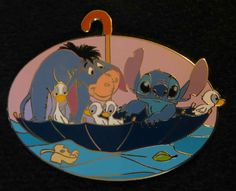 Disney Auctions P I N s Stitch Eeyore Umbrella Disney Pin RARE Le 1000