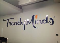 Interior Wall Logo Vinyl Graphics    Trendy Minds  Indianapolis, IN  www.trendyminds.com/    Sign produced with enthusiasm by  Redirections Sign & Design  Indianapolis, IN  www.HappySignage.com
