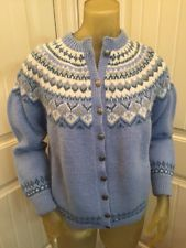 Vintage Handknit In Norway Womens Wool Sweater Cardigan Blue Cream Fair Isle