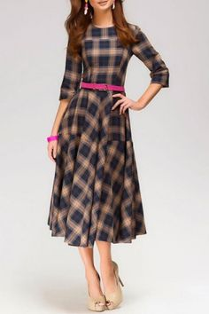 Vintage Round Neck 3/4 Sleeve Plaid Dress