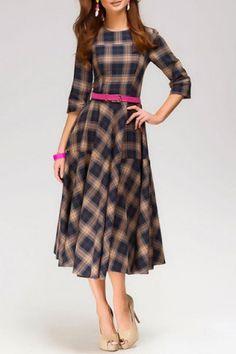 Vintage Round Neck 3/4 Sleeve Plaid Dress