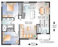 Plan de Rez-de-chaussée Bungalow split-level contemporain, sous-sol aménageable, 2 chambres - Hautbois 3