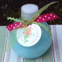 Party favors--- bubble bath! Dollar bin bottles and then purchase large bottles of bubble bath (maybe Johnson and Johnson's lavender) then fill and add tag and ribbons!