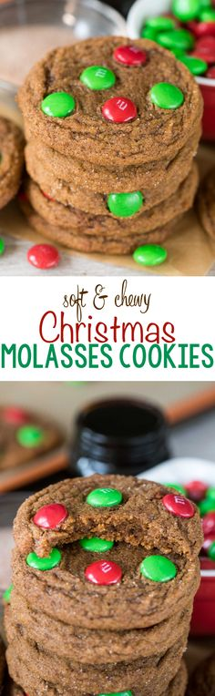 Soft & Chewy Christmas Molasses Cookies - this easy gingerbread cookie recipe is soft and chewy and the perfect amount of spicy. It's rolled in cinnamon sugar before baking and topped with Christmas M&Ms!