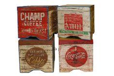 Cajas de madera antiguas pintadas Francisco Segarra