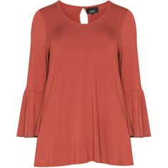 Zhenzi Orange Plus Size Bell sleeve jersey top ($52) ❤ liked on Polyvore featuring tops, orange, plus size, cut out top, stitched jerseys, bell sleeve tops, womens plus tops and plus size red tops