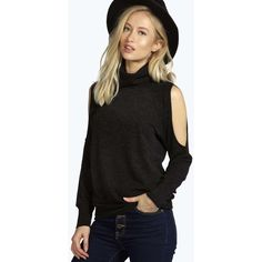 Boohoo Emma Roll Neck Open Shoulder Jumper (140 DKK) ❤ liked on Polyvore featuring tops, sweaters, black, open shoulder top, layered sweater, black sweater, black top and open shoulder sweater