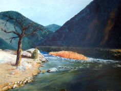 """Mountain River    This is one of several paintings I've done along the Arkansas River. It is painted in acrylics and is 16"""" X 20"""" in size.      Original Artwork Details:  16""""H x 20""""W  FOR SALE"""