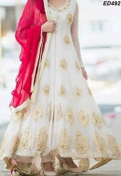 White Ghauhar Long Anarkali Kameez Heavy Embroidery Design Wedding Dress ED492