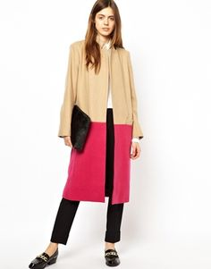 LOVE this.<3 ASOS Longline Coat in Bright Color Block. Absolutely gorgeous.<3