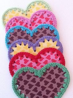 hearts with crochet edge