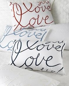Love Pillows Wouldn't these be great if you have family members write the word love on paper and transfer...
