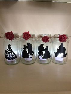 beauty and the beast wedding centerpiece lantern jar belle Disney ideal for party decor gift decorating tables Christmas bridal shower wed - Glas Windlicht - Hochzeit Beauty And Beast Birthday, Beauty And The Beast Theme, Beauty And Beast Wedding, Disney Beauty And The Beast, Diy Beauty And The Beast Decorations, Beauty And The Beast Crafts, Beauty And The Beast Bedroom, Beauty And The Beast Silhouette, Beauty Beast