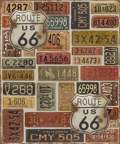 Route 66 was digitally designed and created by Jean Plout. Many old vintage license plates from all over the USA! Get your kicks on Route This art would look great in any Man Cave, Game room, garage or wall that needs that cool retro touch. Vintage Labels, Vintage Signs, Vintage Images, Route 66, Wisconsin, Carros Vintage, Old License Plates, Etiquette Vintage, Motif Vintage