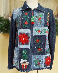 Heirloom Collectiles Holiday Christmas Zip Sweater ML Cute Trees Fun Party Jeans #HeirloomCollectiblesHolidayCollection #Cardigan