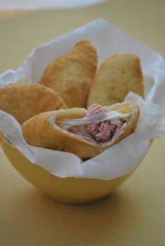 A typical appetizer from Puglia: panzerotti filled with ham and mozzarella chess. The classic version is with mozzarella and tomato. Yummy