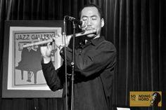 Musician Kaoru Watanabe playing at The Jazz Gallery (Manhattan, New York, USA, April 2012)