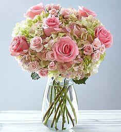 Premium Hand-tied Rose and Hydrangea Bouquet - Sweet Gift - 1 Church Wedding Flowers, Blush Wedding Flowers, Blush Roses, Flower Bouquet Wedding, Pink Flowers, 800 Flowers, Table Flowers, Hydrangea Bouquet, Pink Hydrangea