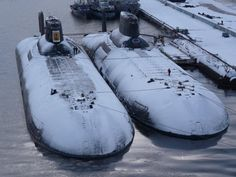 ・・・ ・・・ Two Typhoon class nuclear powered ballistic missile submarines, Arkhangelsk and Severstal. Old Brown Shoe, Cruisers, Russian Submarine, Soviet Navy, Nuclear Submarine, Navy Ships, Military Equipment, Submarines, Aircraft Carrier