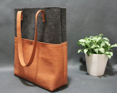 Leather tote bag handmade bagfelt bagfelt & leather by AlmaMilano